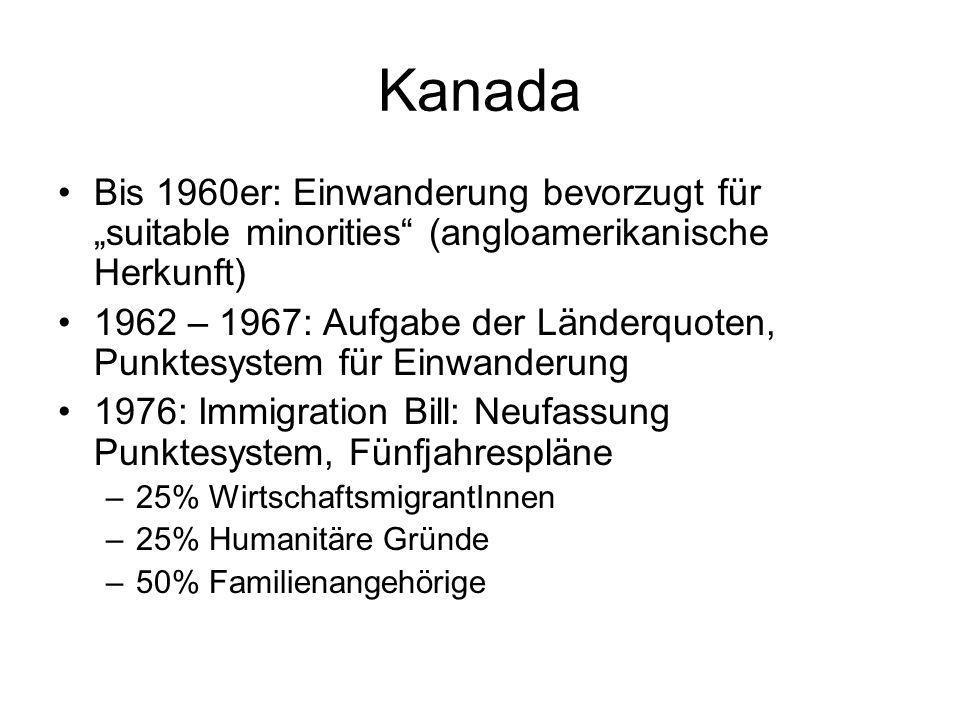 """Kanada Bis 1960er: Einwanderung bevorzugt für """"suitable minorities (angloamerikanische Herkunft)"""