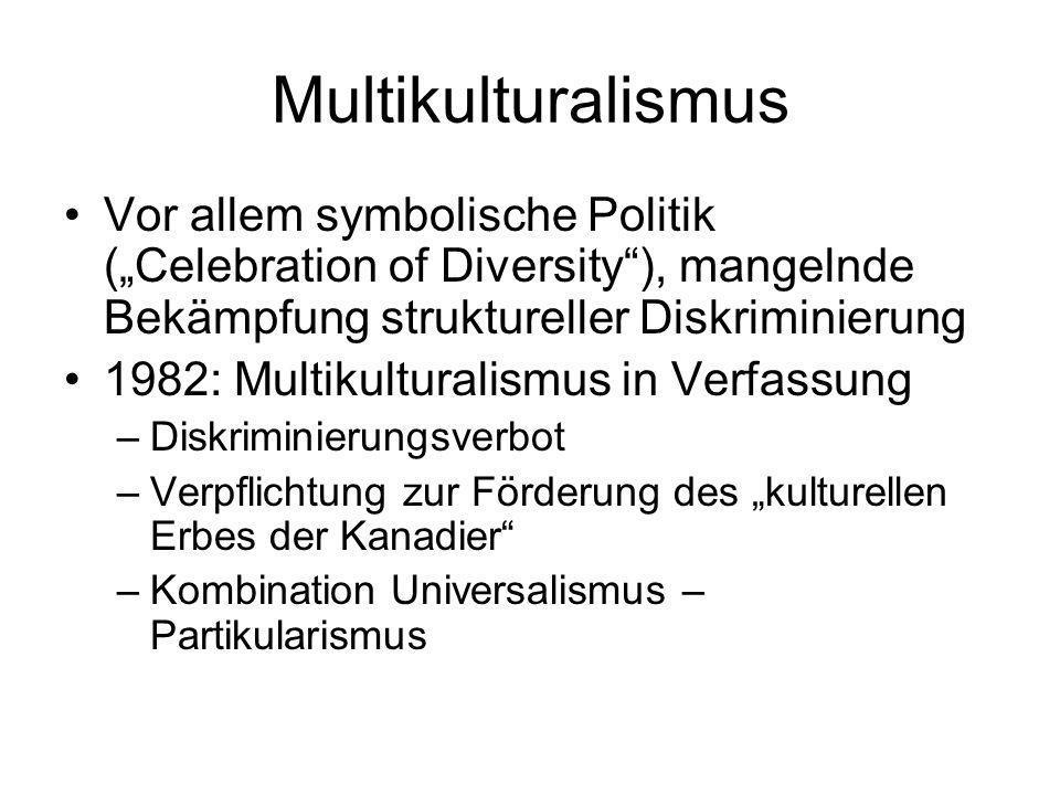 "MultikulturalismusVor allem symbolische Politik (""Celebration of Diversity ), mangelnde Bekämpfung struktureller Diskriminierung."