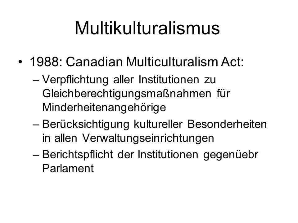 Multikulturalismus 1988: Canadian Multiculturalism Act: