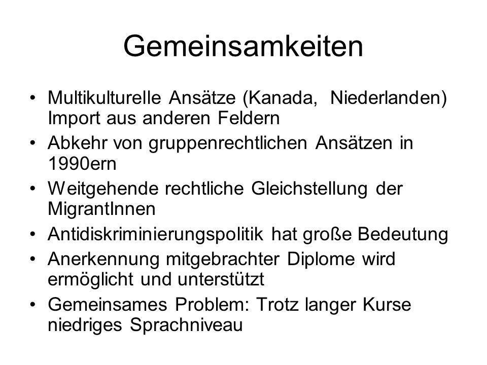 GemeinsamkeitenMultikulturelle Ansätze (Kanada, Niederlanden) Import aus anderen Feldern. Abkehr von gruppenrechtlichen Ansätzen in 1990ern.