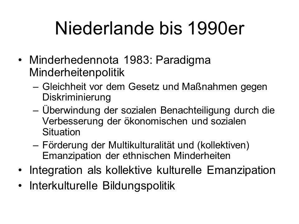 Niederlande bis 1990erMinderhedennota 1983: Paradigma Minderheitenpolitik. Gleichheit vor dem Gesetz und Maßnahmen gegen Diskriminierung.