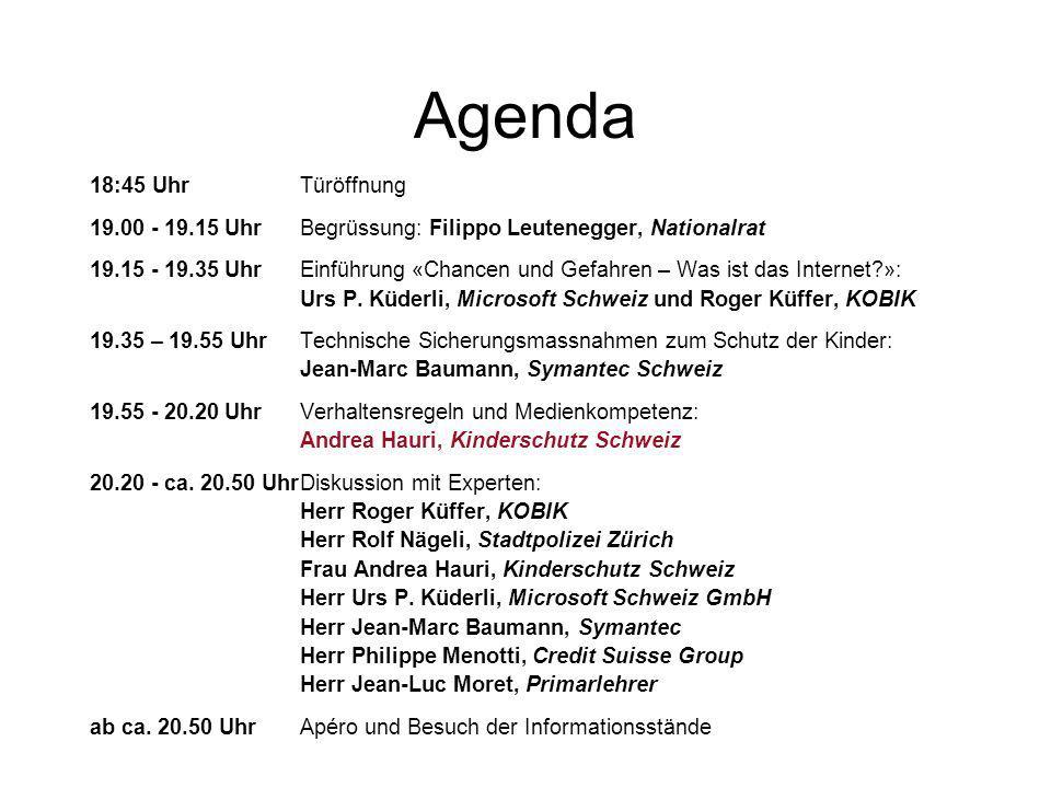 Agenda 18:45 Uhr Türöffnung