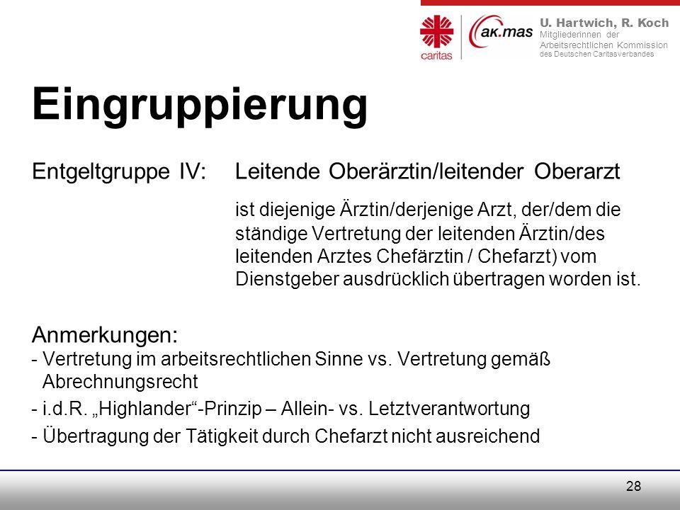 Eingruppierung Entgeltgruppe IV: Leitende Oberärztin/leitender Oberarzt.