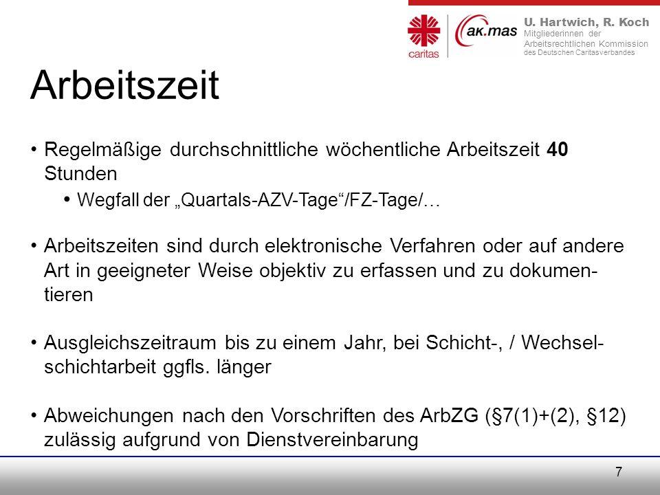 "Arbeitszeit Wegfall der ""Quartals-AZV-Tage /FZ-Tage/…"