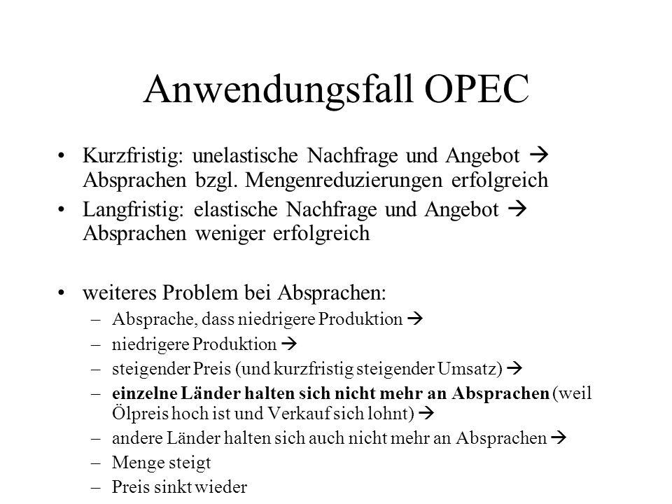 Anwendungsfall OPEC Kurzfristig: unelastische Nachfrage und Angebot  Absprachen bzgl. Mengenreduzierungen erfolgreich.