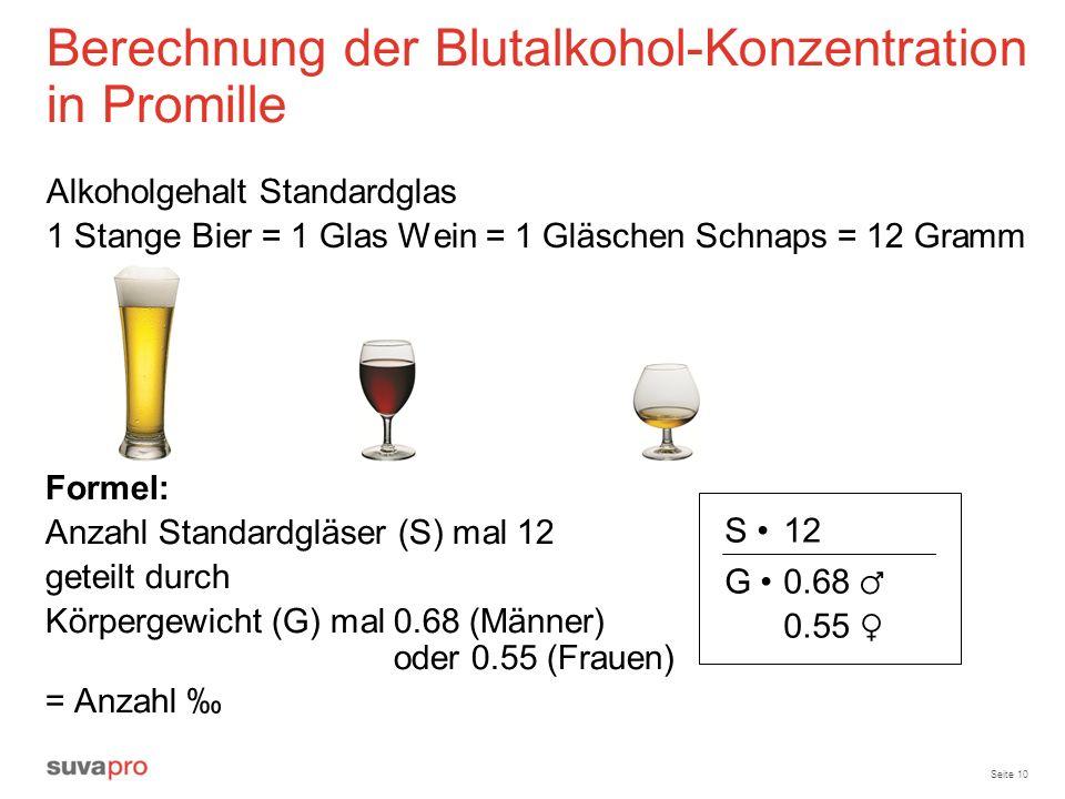 Berechnung der Blutalkohol-Konzentration in Promille