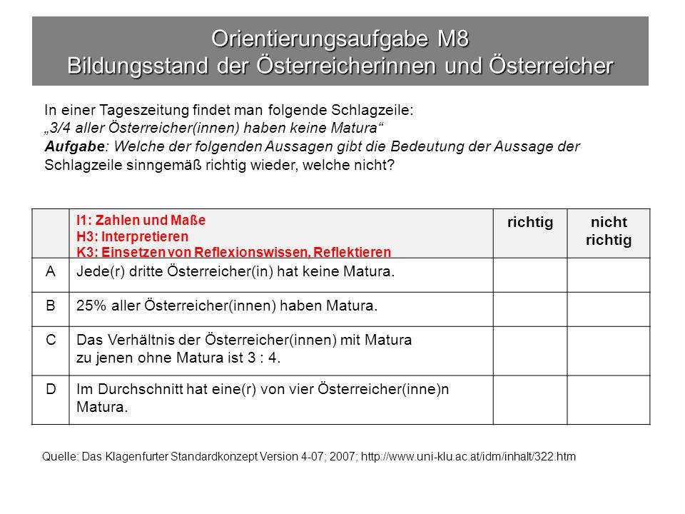 Orientierungsaufgabe M8 Bildungsstand der Österreicherinnen und Österreicher