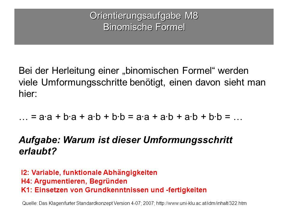 Orientierungsaufgabe M8 Binomische Formel