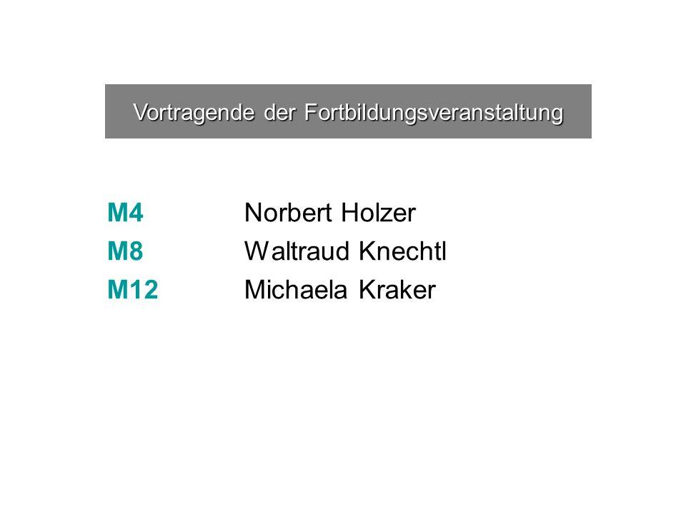 M4 Norbert Holzer M8 Waltraud Knechtl M12 Michaela Kraker