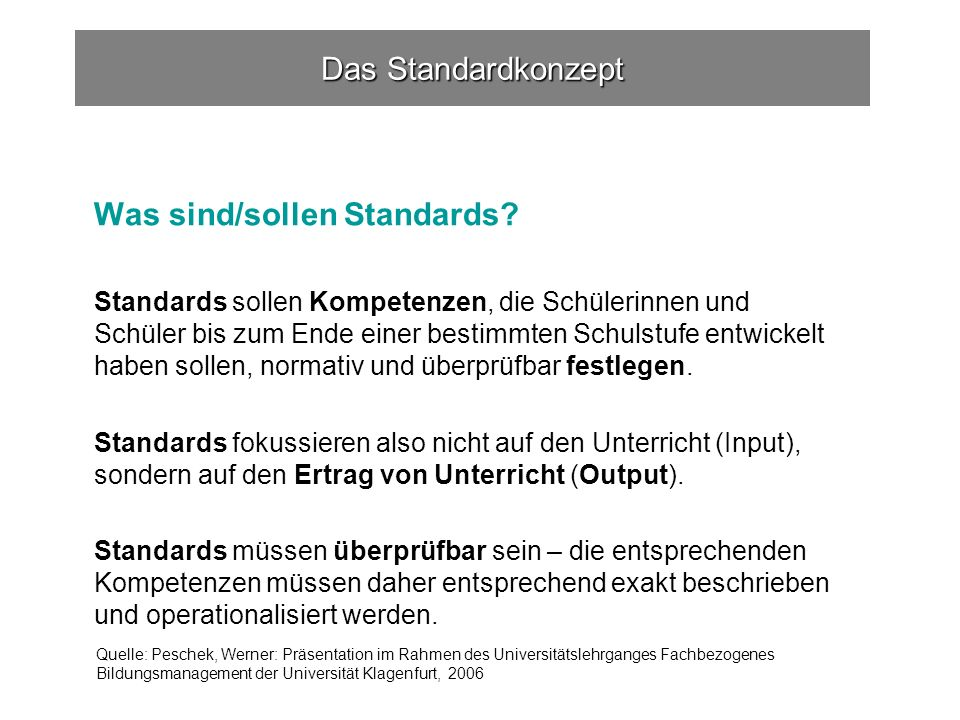 Was sind/sollen Standards