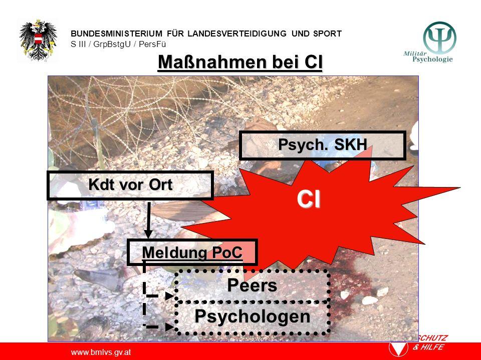 CI Maßnahmen bei CI Peers Psychologen Psych. SKH Kdt vor Ort