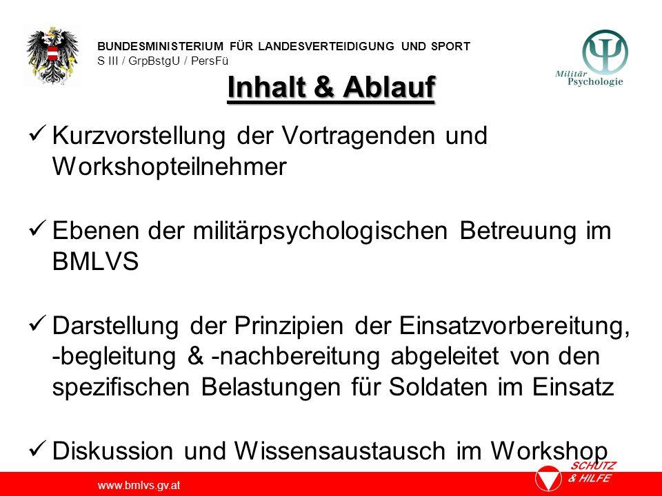 Inhalt & Ablauf Kurzvorstellung der Vortragenden und Workshopteilnehmer. Ebenen der militärpsychologischen Betreuung im BMLVS.