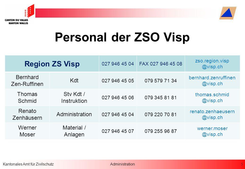 Personal der ZSO Visp Region ZS Visp Bernhard Zen-Ruffinen Kdt