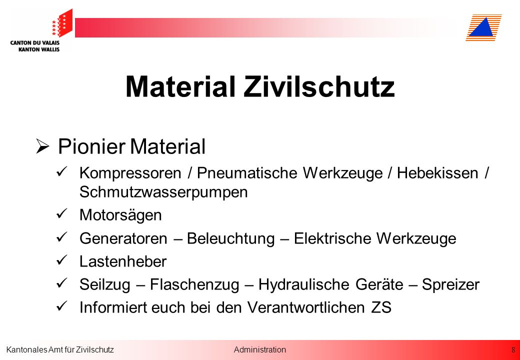 Material Zivilschutz Pionier Material