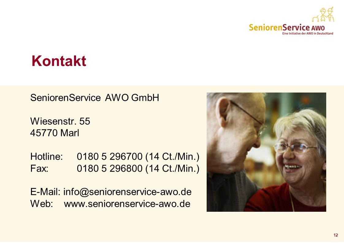 Kontakt SeniorenService AWO GmbH Wiesenstr. 55 45770 Marl