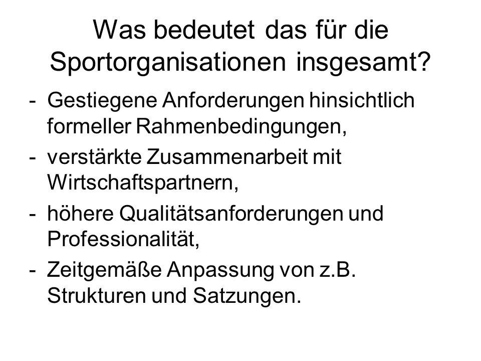 Was bedeutet das für die Sportorganisationen insgesamt