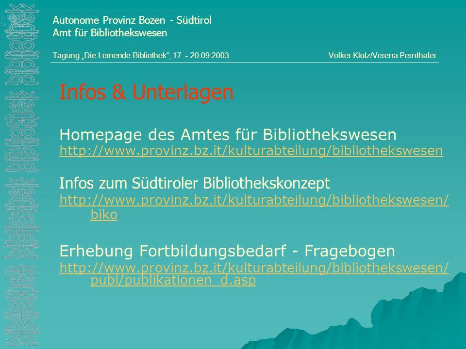 Infos & Unterlagen Homepage des Amtes für Bibliothekswesen