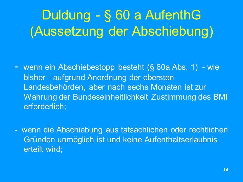 Duldung - § 60 a AufenthG (Aussetzung der Abschiebung)