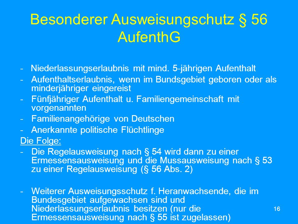 Besonderer Ausweisungschutz § 56 AufenthG