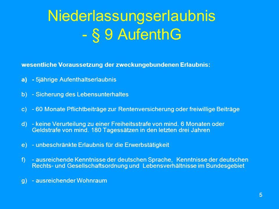 Niederlassungserlaubnis - § 9 AufenthG