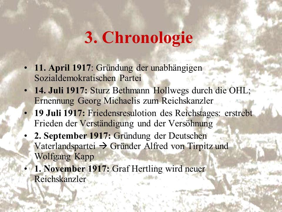 3. Chronologie 11. April 1917: Gründung der unabhängigen Sozialdemokratischen Partei.