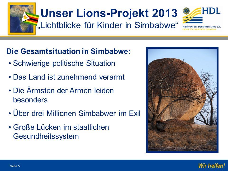 """Unser Lions-Projekt 2013 """"Lichtblicke für Kinder in Simbabwe"""