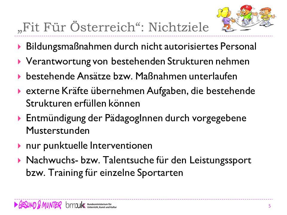 """""""Fit Für Österreich : Nichtziele"""
