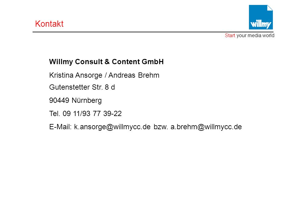 Kontakt Kristina Ansorge / Andreas Brehm Gutenstetter Str. 8 d