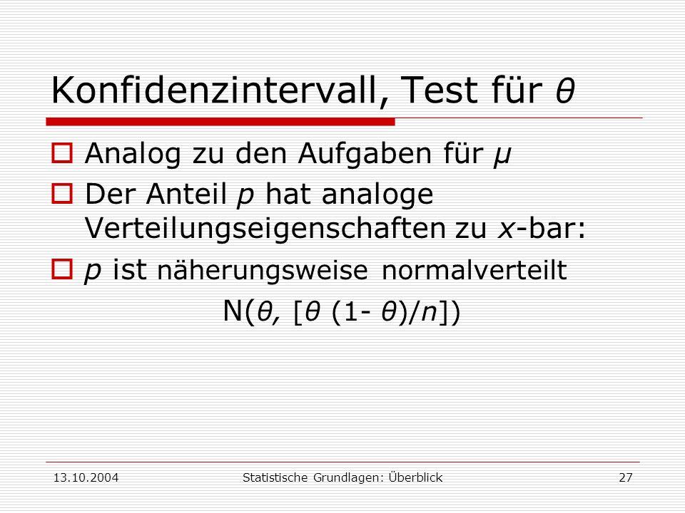 Konfidenzintervall, Test für θ
