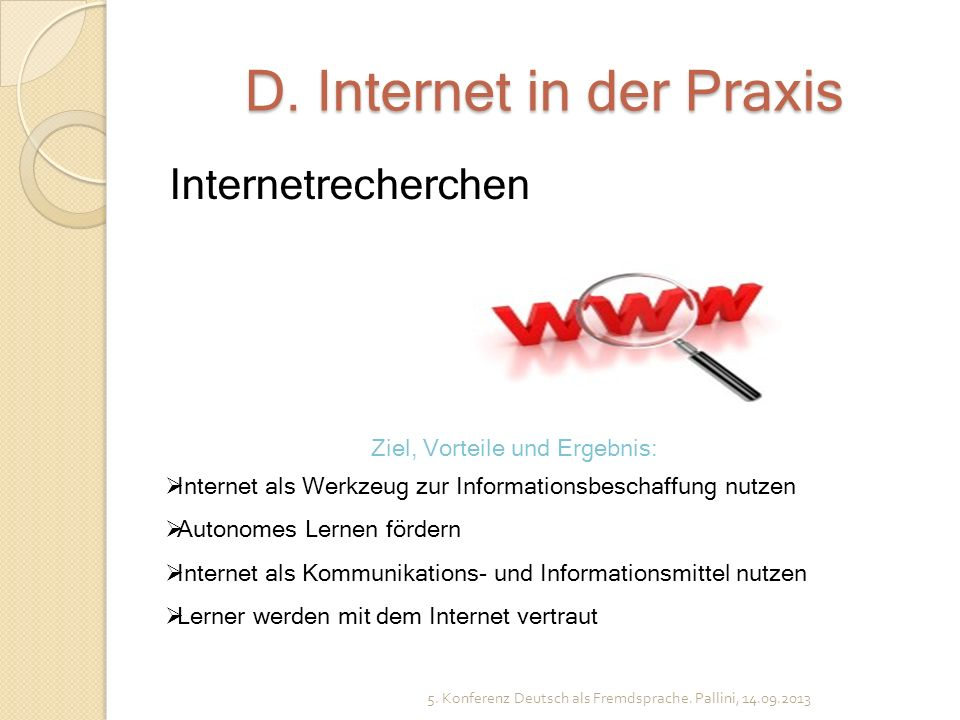 D. Internet in der Praxis