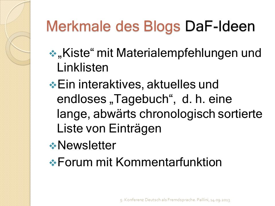 Merkmale des Blogs DaF-Ideen