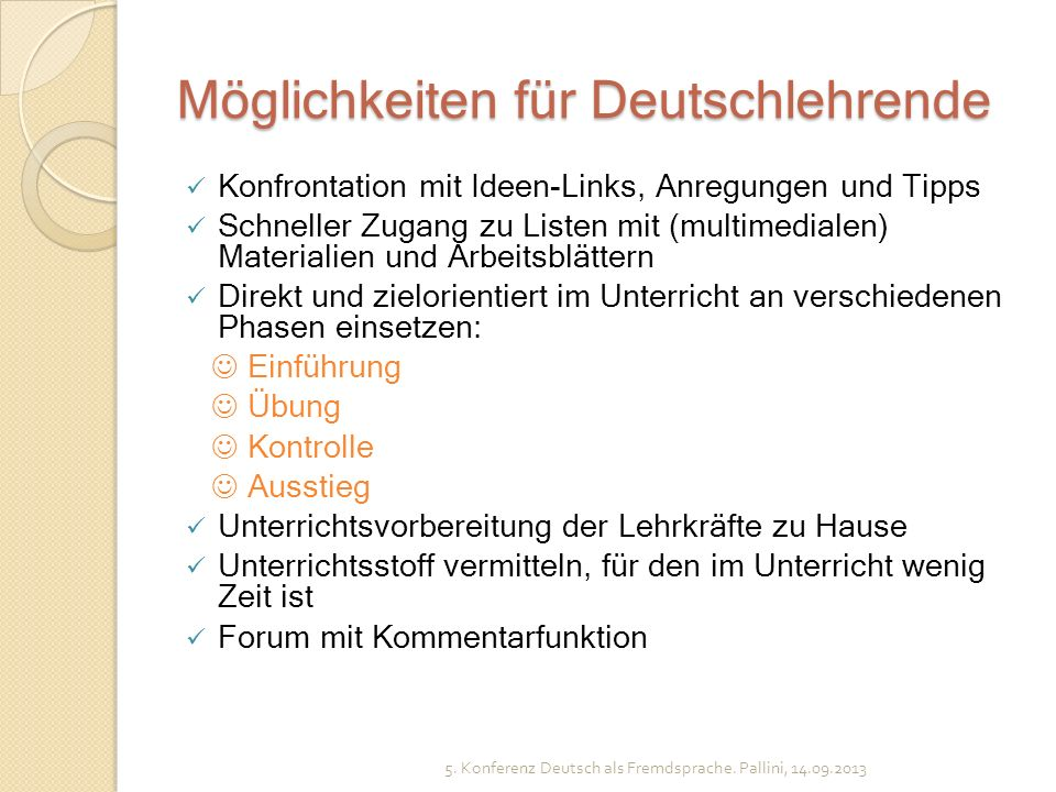 Möglichkeiten für Deutschlehrende