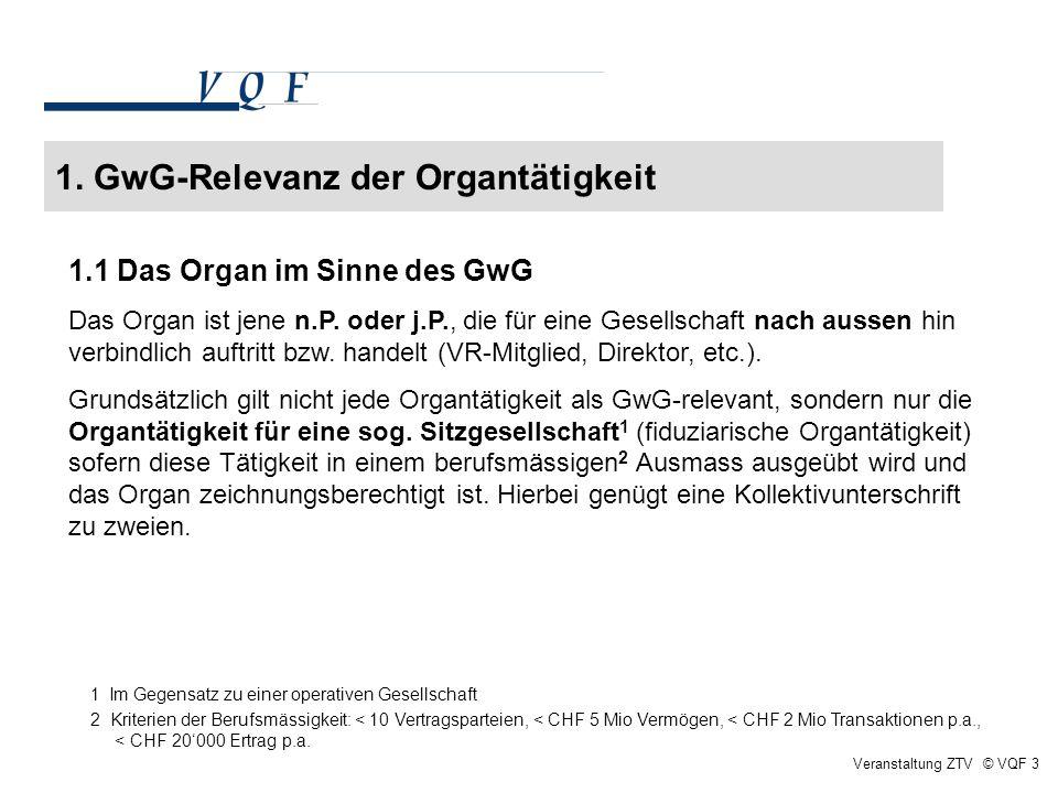 1. GwG-Relevanz der Organtätigkeit