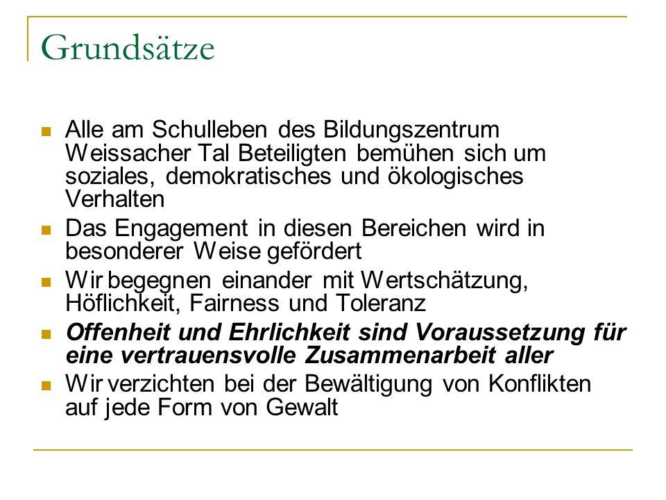 Grundsätze Alle am Schulleben des Bildungszentrum Weissacher Tal Beteiligten bemühen sich um soziales, demokratisches und ökologisches Verhalten.