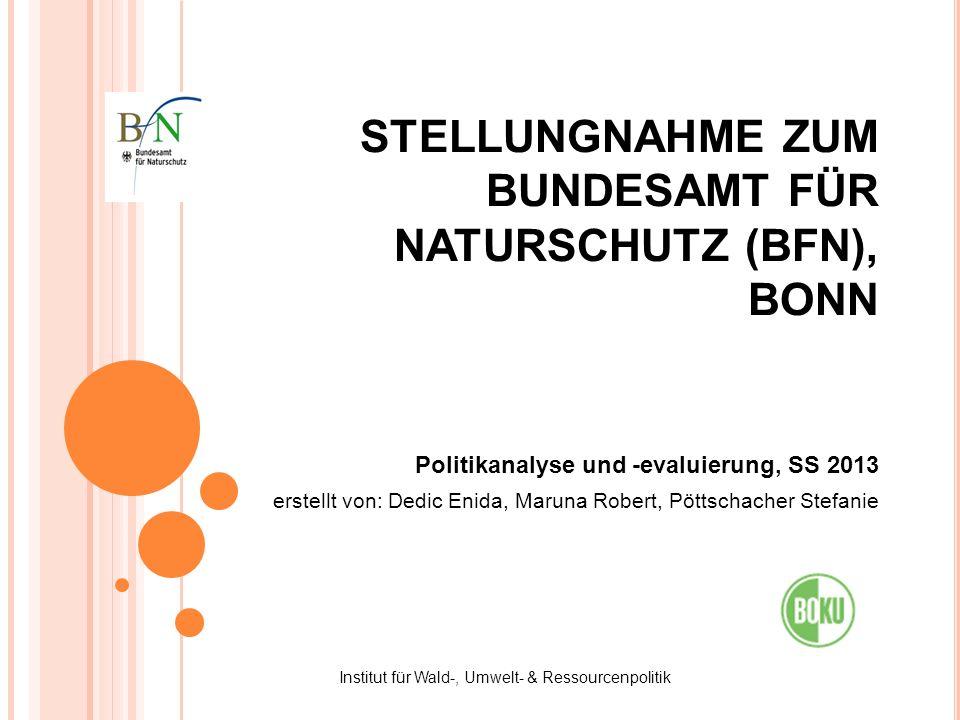 STELLUNGNAHME ZUM BUNDESAMT FÜR NATURSCHUTZ (BFN), BONN