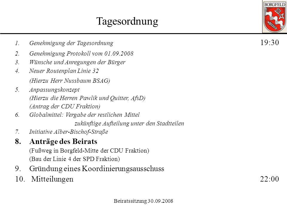 Tagesordnung (Hierzu Herr Nussbaum BSAG) 8. Anträge des Beirats