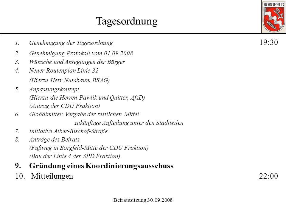 Tagesordnung (Hierzu Herr Nussbaum BSAG)