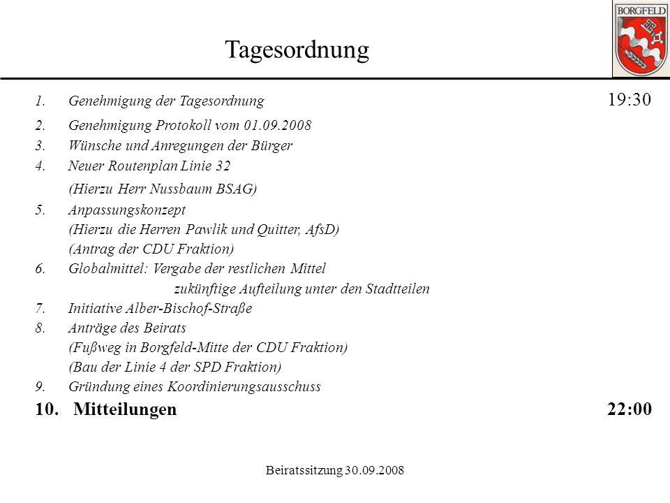 Tagesordnung (Hierzu Herr Nussbaum BSAG) 10. Mitteilungen 22:00