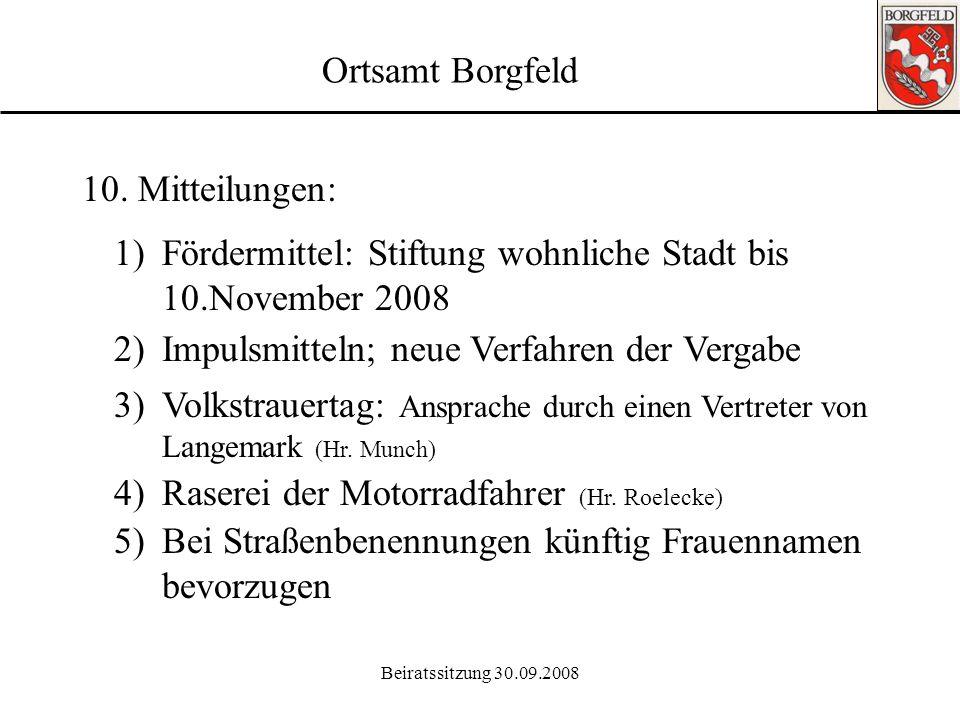 Fördermittel: Stiftung wohnliche Stadt bis 10.November 2008