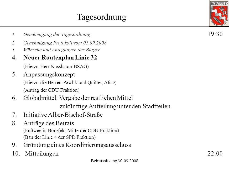 Tagesordnung Neuer Routenplan Linie 32 (Hierzu Herr Nussbaum BSAG)