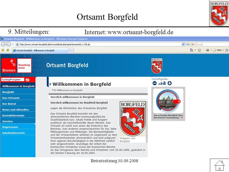 Ortsamt Borgfeld 9. Mitteilungen: Internet: www.ortsamt-borgfeld.de