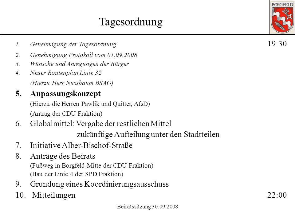 Tagesordnung (Hierzu Herr Nussbaum BSAG) 5. Anpassungskonzept