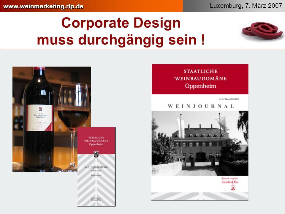 Corporate Design muss durchgängig sein !