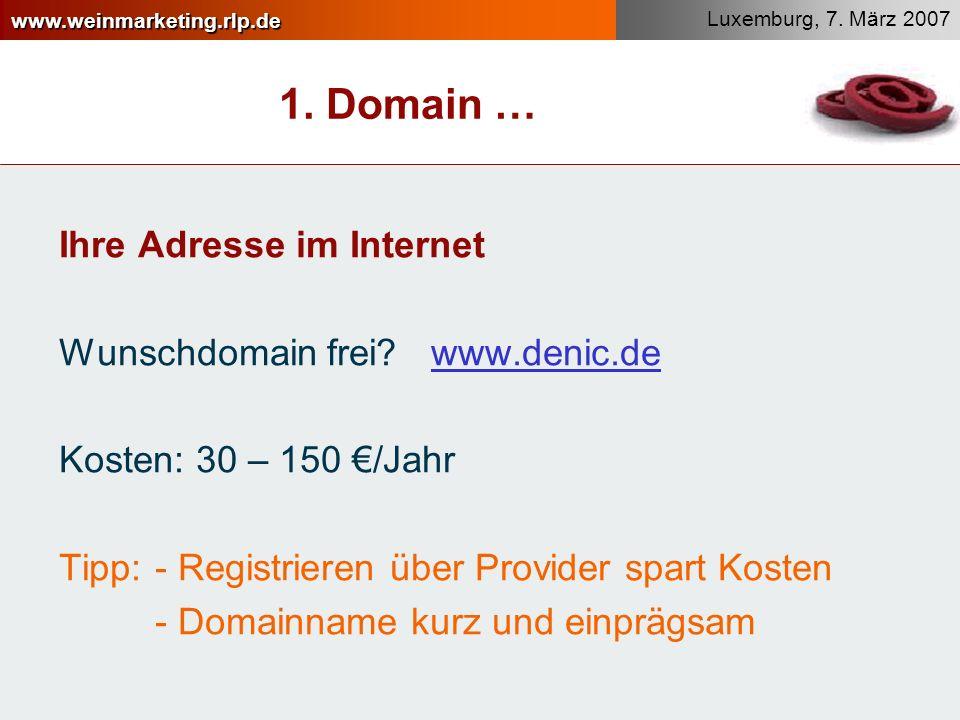 1. Domain … Ihre Adresse im Internet Wunschdomain frei www.denic.de