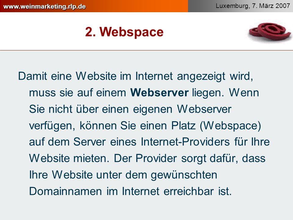 2. Webspace