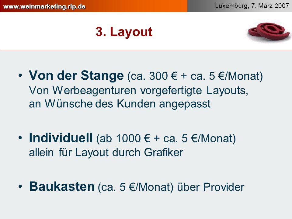 3. Layout Von der Stange (ca. 300 € + ca. 5 €/Monat) Von Werbeagenturen vorgefertigte Layouts, an Wünsche des Kunden angepasst.