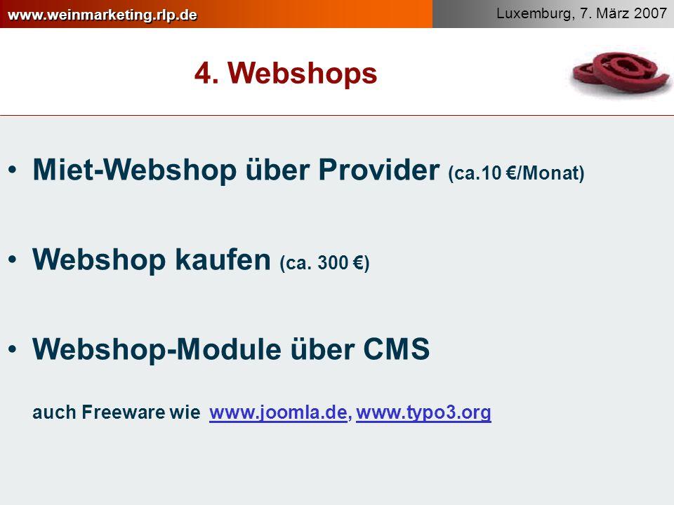4. Webshops Miet-Webshop über Provider (ca.10 €/Monat) Webshop kaufen (ca. 300 €)