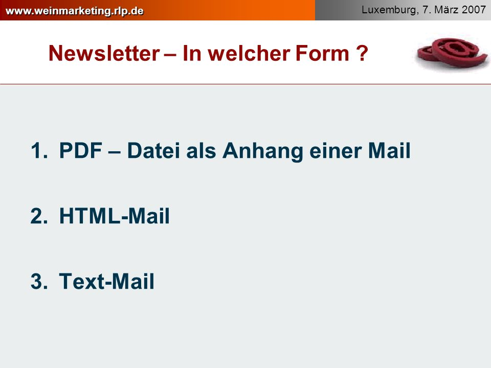 Newsletter – In welcher Form