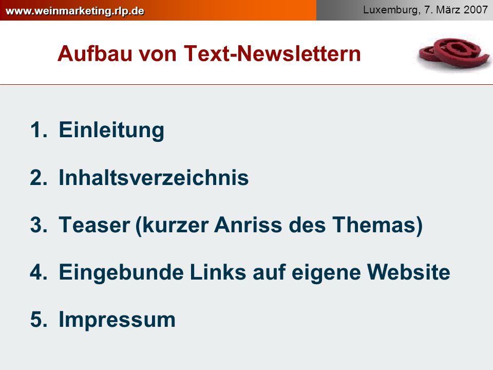 Aufbau von Text-Newslettern