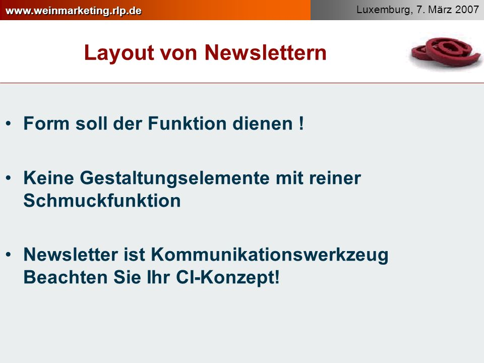 Layout von Newslettern